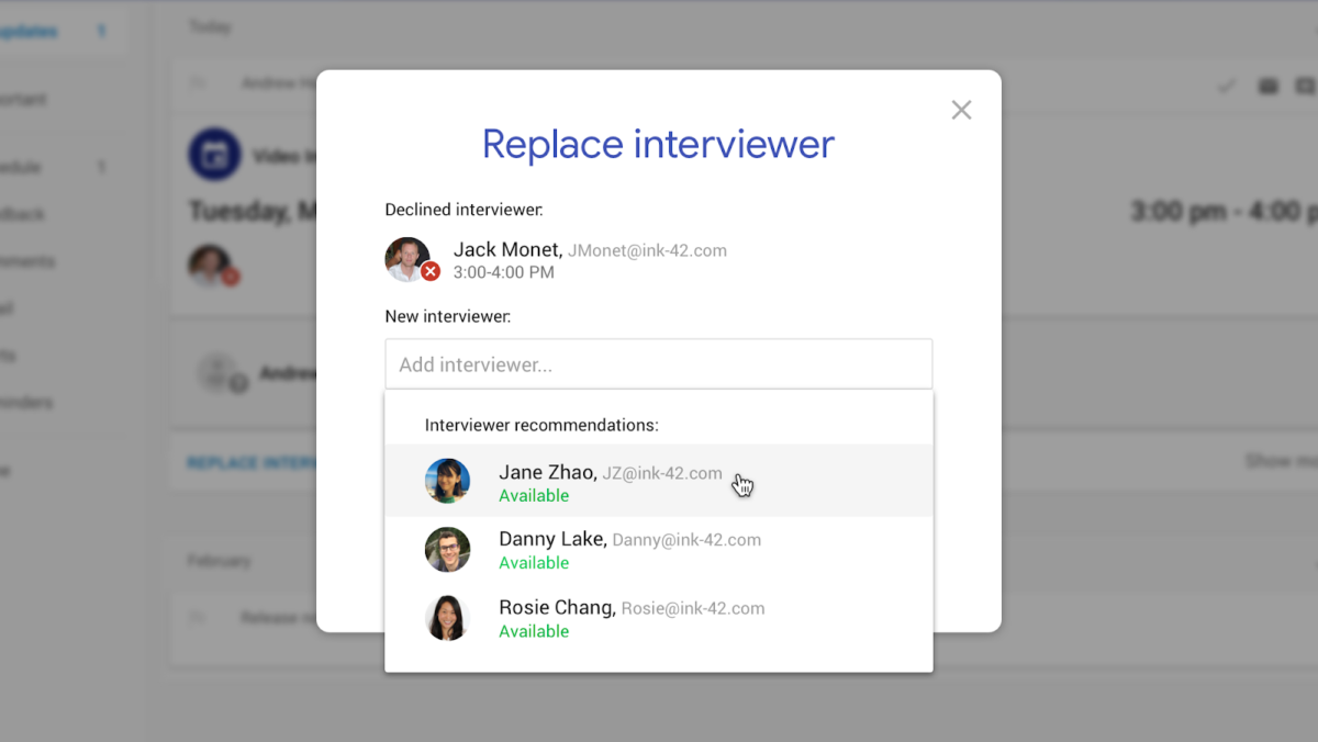Google Hire Replace Interviewer
