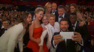 Oscars host Ellen Degeneres set a record for most retweets during the Oscars telecast. Photo: Twitter.com/TheEllenShow.